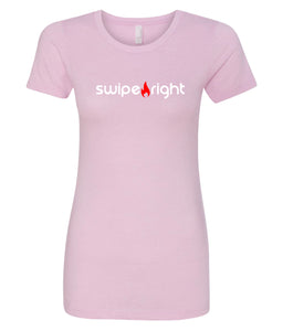 pink swipe right crewneck tees for women