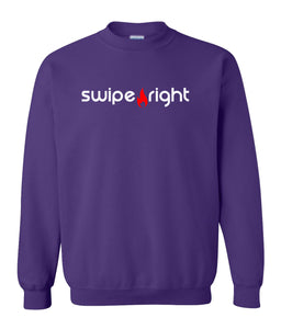 purple swipe right sweatshirt