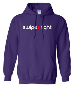 purple swipe right hoodie