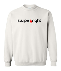 white swipe right sweatshirt