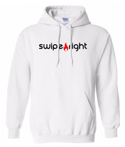 white swipe right hoodie