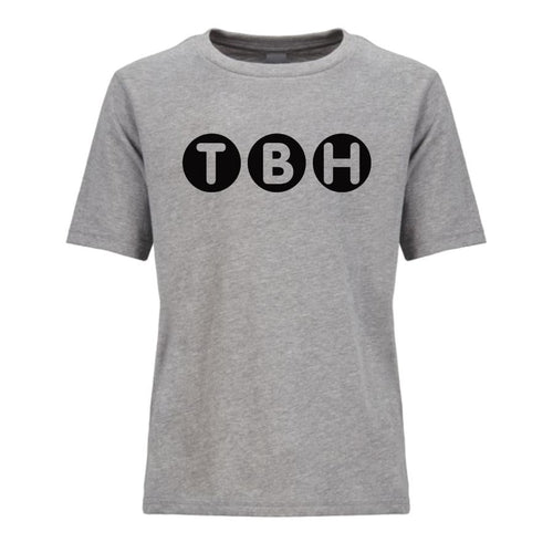 grey TBH youth crewneck t shirt for boys