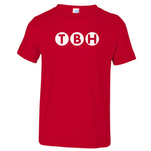 red TBH crewneck t shirt for toddlers