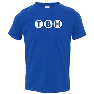 blue TBH crewneck t shirt for toddlers