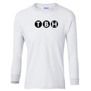 white TBH youth long sleeve t shirt for boys