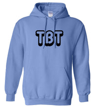 Load image into Gallery viewer, blue TBT hooded sweatshirt for women