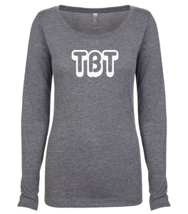 grey TBT long sleeve scoop shirt for women