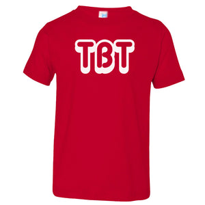 red TBT crewneck t shirt for toddlers