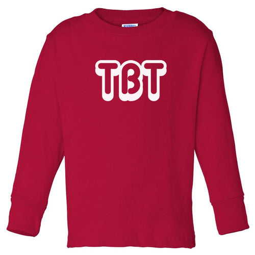 red TBT long sleeve t shirt for toddlers
