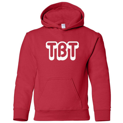 Red TBT youth hooded sweatshirt for boys