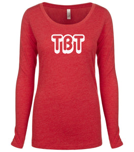 red TBT long sleeve scoop shirt for women
