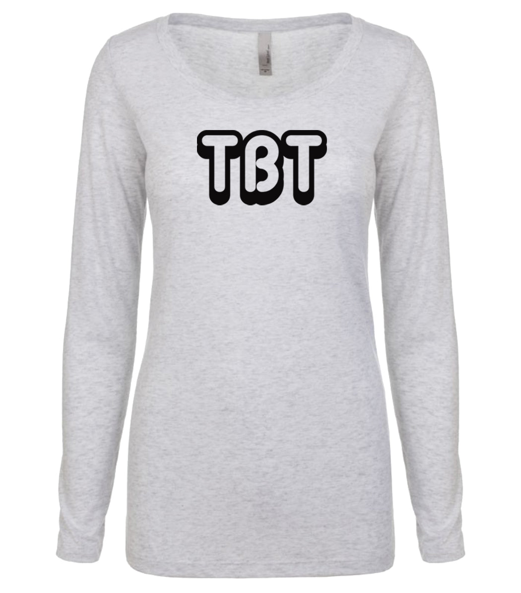 white TBT long sleeve scoop shirt for women
