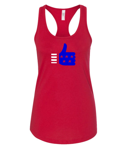 thumbs up racerback tank top