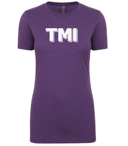 purple TMI womens crewneck t shirt