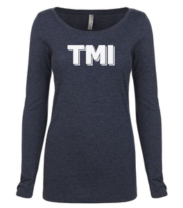 navy TMI long sleeve scoop shirt for women