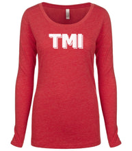 Load image into Gallery viewer, red TMI long sleeve scoop shirt for women