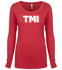 red TMI long sleeve scoop shirt for women