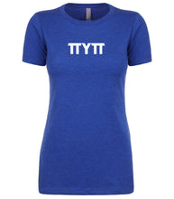 Load image into Gallery viewer, blue TTYTT crewneck t shirt for women