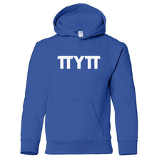 Load image into Gallery viewer, blue TTYTT youth hooded sweatshirt for boys