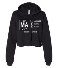 Load image into Gallery viewer, black TVMA Cropped hoodie