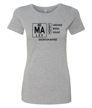 Load image into Gallery viewer, grey mature audiences crewneck women's tee