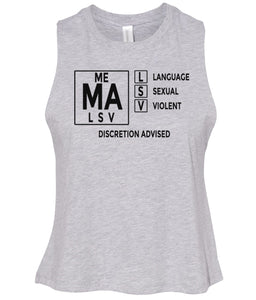 grey mature audiences women's cropped tank top