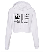 Load image into Gallery viewer, white TVMA Cropped hoodie