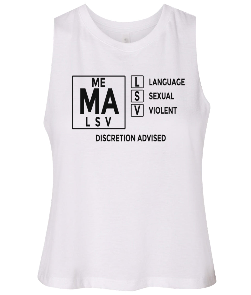 white mature audiences women's cropped tank top