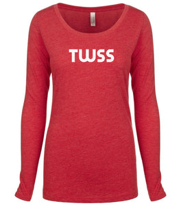 red TWSS long sleeve scoop shirt for women