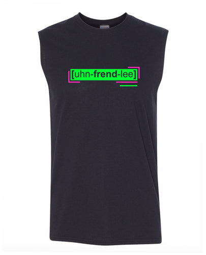 florescent green unfriendly men's sleeveless tee tank top