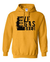 Load image into Gallery viewer, gold Vegas born and bred hoodie