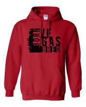 Load image into Gallery viewer, red Vegas born and bred hoodie