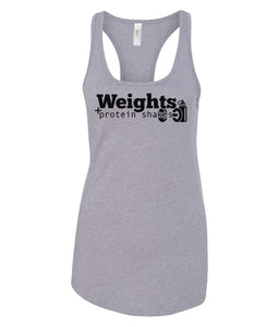 weights and protein shakes racerback tank top