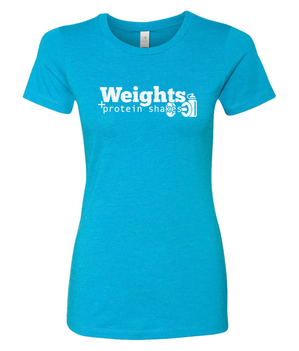 weights and protein shakes fitness t-shirt for women