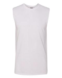 white men's sleeveless t-shirt