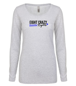 white 8 nights women's long sleeve Hanukkah t shirt