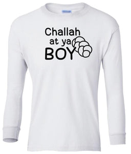 white challah long sleeve toddler Hanukkah t shirt