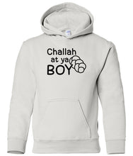 Load image into Gallery viewer, white challah youth hooded Hanukkah sweatshirt