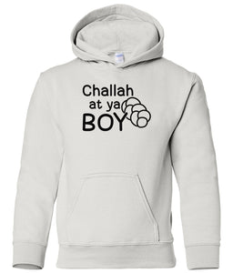 white challah youth hooded Hanukkah sweatshirt