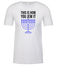 Load image into Gallery viewer, white Jew It men's Hanukkah t shirt