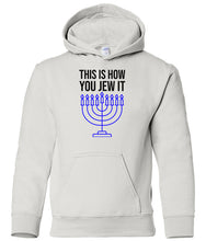 Load image into Gallery viewer, white jew it toddler hooded Hanukkah Sweatshirt