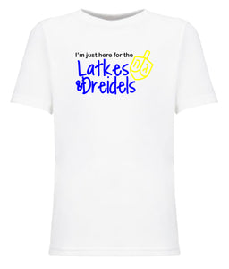 white latkes and dreidels toddler Hanukkah t shirt