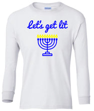Load image into Gallery viewer, white menorah youth long sleeve Hanukkah T Shirt