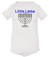 Load image into Gallery viewer, white latke infant Hanukkah onesie