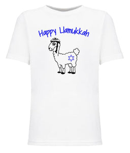 white llamukkah toddler Hanukkah t shirt
