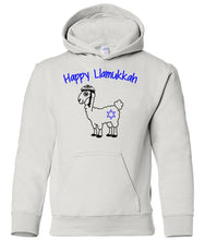 Load image into Gallery viewer, white llamukkah  toddler hooded Hanukkah Sweatshirt