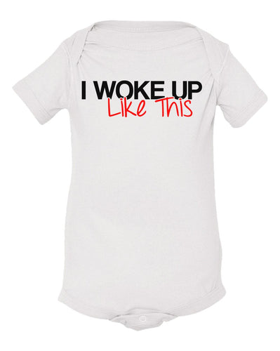 white woke up like this baby onesie