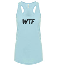 Load image into Gallery viewer, blue WTF racerback tank top for women