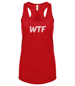 red WTF racerback tank top for women