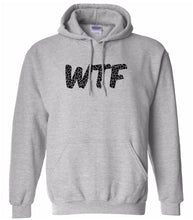 Load image into Gallery viewer, grey WTF hooded sweatshirt for women